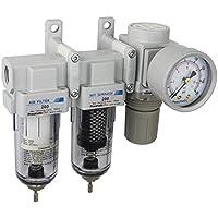 """PneumaticPlus Sau230-02g mini sistema de tres etapas de secado al aire, 1/4"""" bspt - filtro de aire de partículas, filtro de coalescencia, el regulador de presión de aire combo"""
