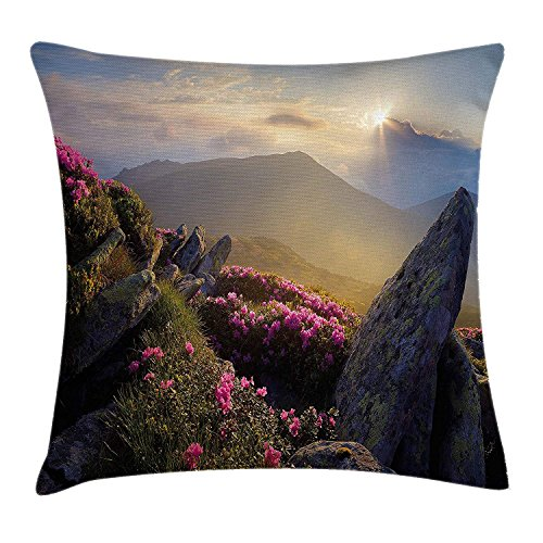Mountain Throw Pillow Cushion Cover, Sunrise in Valley Meadow with Rhododendrons Wildlife Idyllic Rural Scenery, Decorative Square Accent Pillow Case, 18 X 18 Inches, Yellow Green Pink