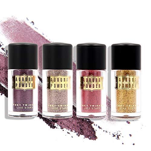 Aesyorg 4 stücke schimmern lose lidschatten pulver make-up pigment wasserdicht glitter 3d augen make-up kosmetik - Eye Shadow 4 Loose Powder