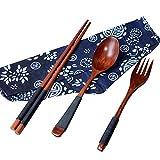 OHQ Bois De Bambou Vaisselle Costume Trois PièCes Brown Baguettes Japonaises Vintage En Bois CuillèRe Fourchette Vaisselle 3Pcs Set Nouveau Cadeau (marron)