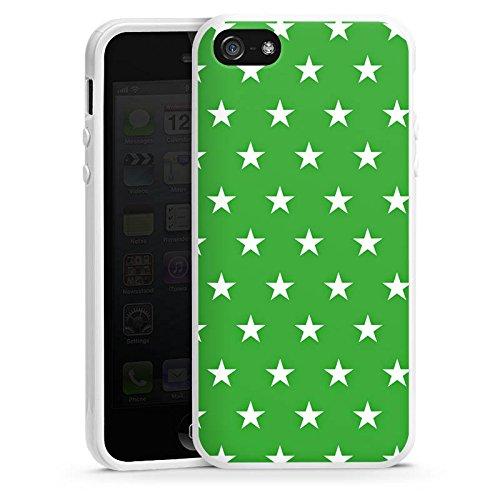 Apple iPhone 5 Housse Étui Protection Coque Étoiles Motif Motif Housse en silicone blanc
