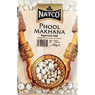 Natco Healthy & Nutritious Phool Makhana Roasted Popped Lotus Seeds for Indian Curry Treats & Dishes - 100g Bag - 2 Pack