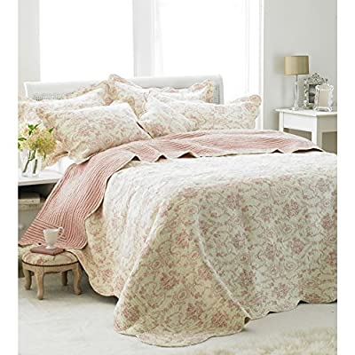 Etoille Rose and Cream Quilted Bedspread - inexpensive UK light shop.