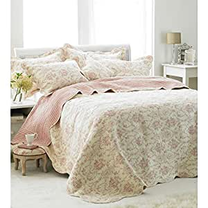 Paoletti Etoille Toile De Jouy Cotton Quilted Bedspread, Off White / Pink, Super King