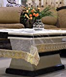 #8: RST Transparent Center Table Cover 4 Seater 40*60 Inches (Golden Lace)