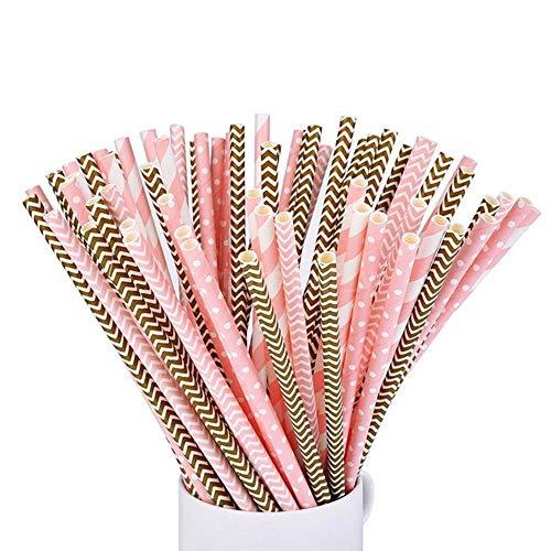 SIMUER Papier Trinkhalm, Papierstrohhalme/TrinkhalmeBiologisch Papier Stroh Paper Straws, für Hochzeit, Geburtstag, Partyzubehör,100 Stück