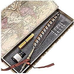GC Schreibfeder Antike Feder Kupferner Federstiel Metallüberzogener Stift Schreibfeder PA-14