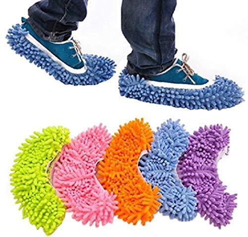 EXQUILEG 5 Paare Multifunktion Bodenreiniger Hausschuhe Hausschuhe mit Wischmopp Staubmopp Wischmop Socken Schuhe Mop in 5 Farben