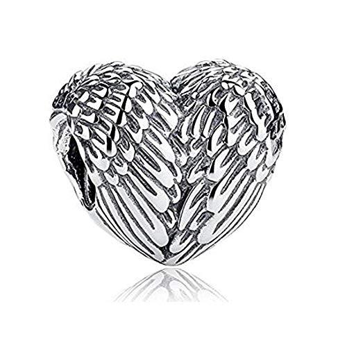 Ciondolo a forma di cuore con piume, ali d'angelo, in argento sterling 925, compatibile con braccialetti e collane europee