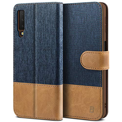 BEZ® Handyhülle für Samsung Galaxy A7 2018 Hülle, Tasche Kompatibel für Samsung Galaxy A7, Handytasche Schutzhülle [Stoff und PU Leder] mit Kreditkartenhalter, Blaue Marine