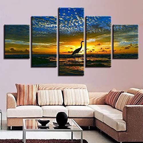 adgkitb canvas Wandkunst Bild Hd 5 stück Rahmen Einfache Tier Flamingo Leinwandbild hochwertigen Hause Nacht Hintergrund Malerei