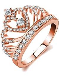 Impression 1PCS Ringe Ring der Krone Ring Diamanten Mode-Ring Schmuck-Girl Zubehör Valentinstag Geschenke aus Glas Hochzeit Ring offen Gold Rosa