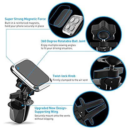 Plozoe-Handyhalter-frs-Auto-Magnet-Handyhalterung-Lftung-Autohalterung-Smartphone-GPS-Magnethalterung-Handy-KFZ-Handy-Halterung-Magnetische-Auto-Handyhalterung-Lftungsschlitz-Upgrade-Design