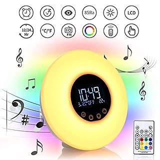 Wecklicht, FM Radio Wecker LED Nachttischlampen LCD Temperaturanzeige Fernbedienung Nachtlicht Sonnenaufgang Snooze Funktion 3 Dimmen Helligkeitsstufen Nachtlampe Ideal Für , Schlafzimmer Und Geschenk