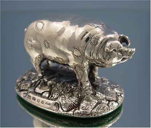 Sterling Silver Farm Yard Pig Figure Ornament.