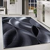 HomebyHome - Tappeto Moderno a Pelo Corto, Motivo a Quadri, Colore Grigio/Nero/Bianco, Polipropilene, 160 x 230 cm