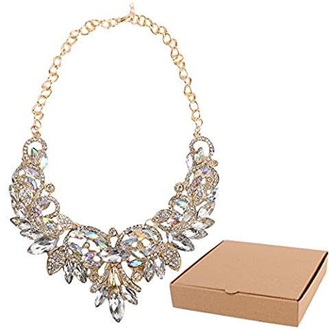 kilofly Rhinestone Crystal Collar Choker Jewelry Bib Wedding Necklace + Gift Box
