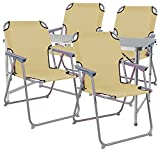 Mojawo ® 5-Teiliges Campingmöbel Set Alu 120x60x58/70cm 1x XXL Campingtisch mit Tragegriff + 4 Campingstühle Beige Stoff Oxfort