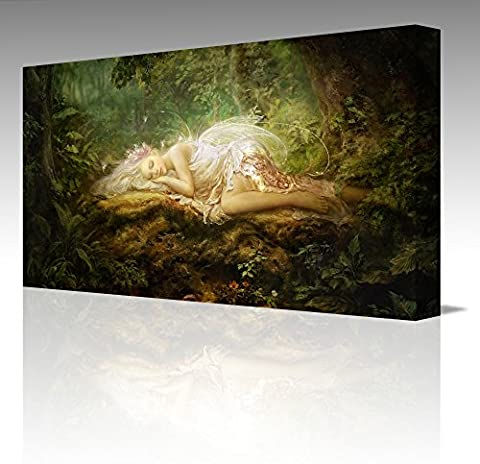 Fantasy SLEEPING FAIRY IN THE GREEN FOREST Vivid Colours Large 16x12 Inch Framed Canvas Art Picture Print New