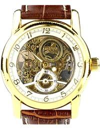 ORKINA MG016-White/Brown - Reloj para hombres, correa de cuero color marrón
