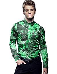 d0f5d20ab3815 FANZHUAN Camisa De Hombre Manga Larga Fashion Estampada Flores Slim Fit Non  Iron