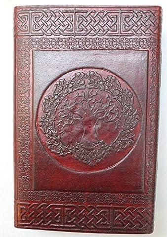 Krish - Carnet-organisateur cadeau et agenda en cuir marron, avec motif celtique, agenda en cuir fait à la main