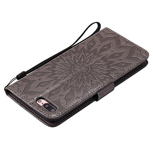 EKINHUI Case Cover Für Apple IPhone 7 Plus Case, Prägen Sonnenblumen Magnetic Pattern Premium Soft PU Leder Brieftasche Stand Case Cover mit Lanyard & Halter & Card Slots ( Color : Red ) Gray