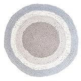 Sebra Häkel-Teppich Kinderteppich rund aus Baumwolle, Interior, Farbe:Grau/Blau