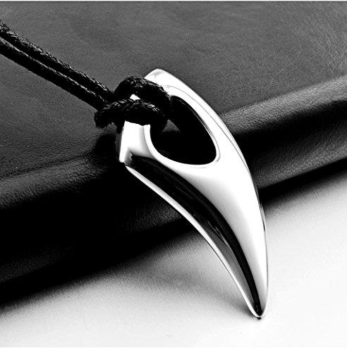 Leaptech Herrenhalsketten Edelstahl Anhänger Halskette Einstellbar Verstellbaren Wolf Gebiss Zahn Speer Tribal Stammes Herren Edelstahl schwarz Tribal Anhänger Zahn Anhänger (Silver)