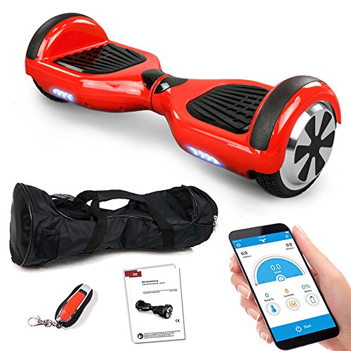 Smartway Balance Scooter 6, 5 Zoll 600W-Motion V.5 mit App Funktion, Bluetooth Lautsprecher, Kinder Sicherheitsmodus, Elektro Self Balance E-Scooter, 600 Watt (rot)