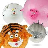 Monsterzeug Lustige Tierballons Zum Aufpusten im 4er Set, Dekoration, Luftballons Kuh, Schwein, Tiger und Elefant, bis 30 cm Durchmesser aufblasbar