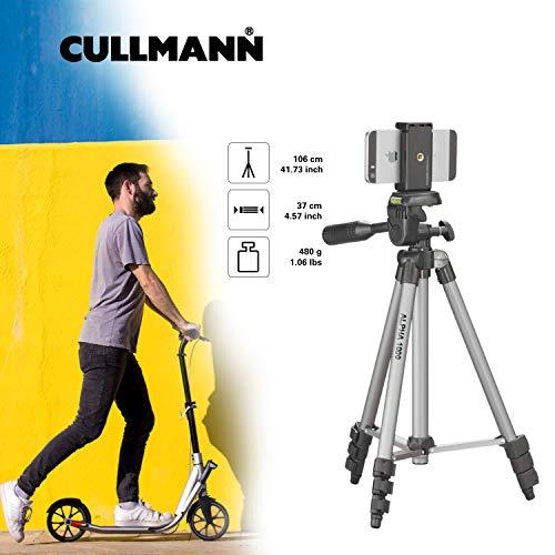 Cullmann ALPHA 1000 Stativ mobile m. Smartphonehalter (3 Auszüge, Gewicht 480g, Tragfähigkeit 1 kg, 106cm Höhe, Packmaß 37cm), silber
