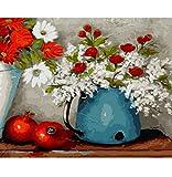 Pintura de números decoración de pared cuadro de bricolaje pintura al óleo sobre lienzo para decoración para el hogar granada y blanco