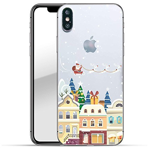 Finoo Iphone X Hard Case Handy-Hülle Weihnachten Motiv   dünne stoßfeste Schutz-Cover Tasche mit lizensiertem Muster   Premium Case für Dein Smartphone  Santa über Stadt Weihnachten Hard Case