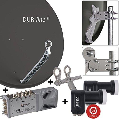 """DUR-line 8 Teilnehmer Set/2 Satelliten - Qualitäts-Alu-Sat-Anlage """"DVB-T2 Alternative"""" - Select 85/90cm Spiegel/Schüssel Anthrazit + DUR-line Multischalter + 2xLNB - Satelliten-Komplettanlage - für 8 Receiver/TV [Neuste Technik - DVB-S/S2, Full HD, 4K/UHD, 3D]"""
