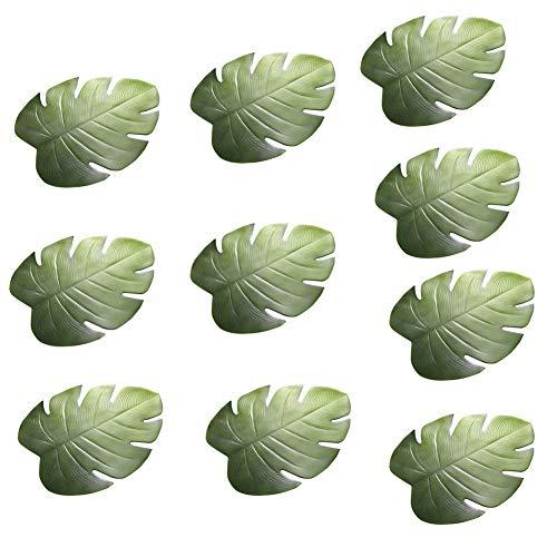 , Palmenblätter, künstliche tropische grüne Blätter, hitzebeständig, PVC, Platzdeckchen, Hawaiianische Party-Dekoration, künstliche Blätter, Kranz Tischsets, 10 Stück ()