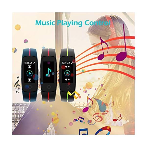 CHEREEKI Pulsera Actividad, Fitness Tracker IP68 Impermeable Monitor de Frecuencia Cardiaca 14 Modos de Ejercicio/Control de Música/Cronómetro/Recordatorio Sedentario/SMS Push 5