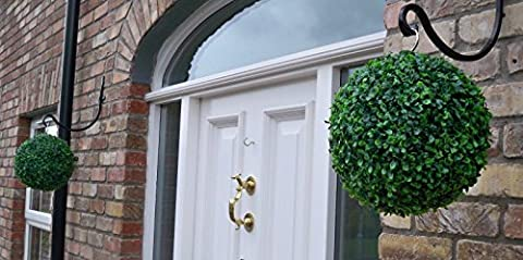 2 Best Artificial 28cm Green Boxwood Buxus Grass Hanging Topiary Balls