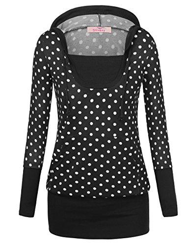 Slivexy Damen Kapuzen Pullover Kariert Long Shirt Langarmshirt Tunika Pulli Schwarz-Dot Medium