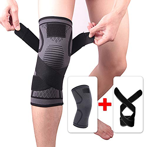 LANGYINH Kniebandage - (2 Stück), Kompressionsgurt mit rutschfestem, verstellbarem Druckgurt, für Tendonitis, Läufer, Sport etc,Black,XL