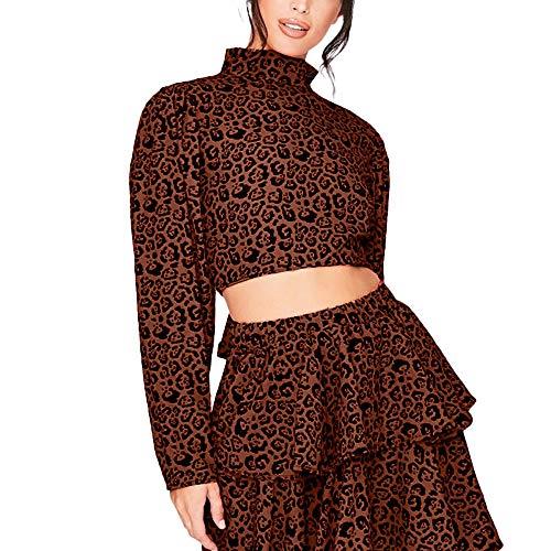 Christmas T-Shirt Damen UFODB Elegant Frauen Langarmshirt Stehkragen Halter Leopard Muster Lange äRmel Shirts Bluse Weihnachtenpulli Oberteile Hemd Top