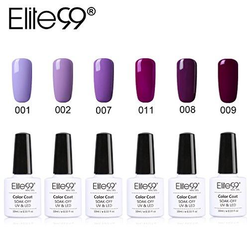 Elite99 UV Nagellack Nail Gel Polish Farbgel Nagelgel Lila deep Purple 6 Stücke 10ML
