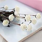Longra Wohnaccessoires & Deko Kunstblumen Künstliche Seide Kunstblumen Pfingstrose Blumen Hochzeit Bouquet Braut Hortensie Dekor (Rose 01G: 1 Strauß 15 Köpfe)