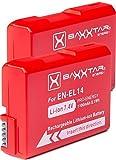 2X Baxxtar Pro Akku für EN-EL14 EN-EL14a (1100mAh) Intelligentes Akkusystem für D3100 D3200 D3300 D3400 D5100 D5200 D5300 D5500 D5600 usw.
