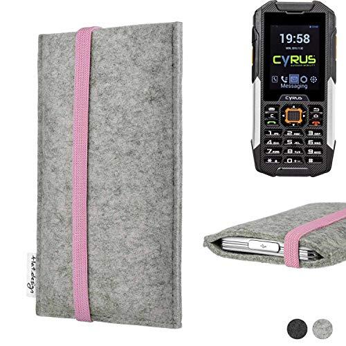 flat.design Handy Hülle Coimbra für Cyrus cm 16 handgefertigte Handytasche Filz Tasche Case rosa hellgrau