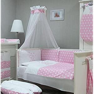 Juego-de-ropa-para-cuna-de-beb-de-Babymajawelt-4-piezas-dosel-para-cuna-70-x-140-cm-ropa-de-cama-100-x-135-y-protector-rosa-CATS-rosa