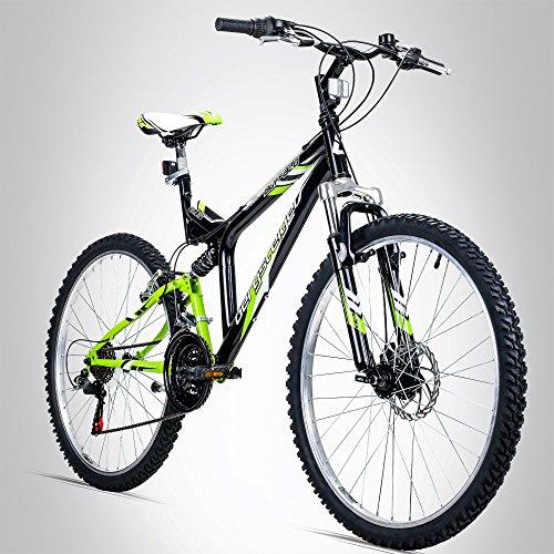 Bergsteiger Buffalo 26 Zoll Mountainbike, geeignet ab 155 cm, Scheibenbremse, Shimano 18 Gang-Schaltung, Vollfederung, Jungen-Fahrrad & Herren-Fahrrad -
