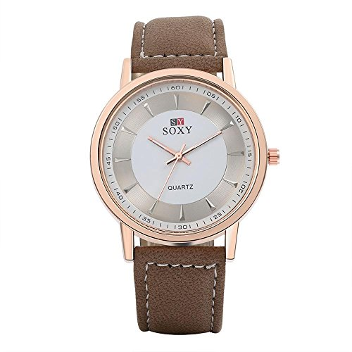 Souarts Herren Armbanduhr Geschäft Lässig Analog Uhr Vergoldet Farbe Zifferblatt mit Batterie