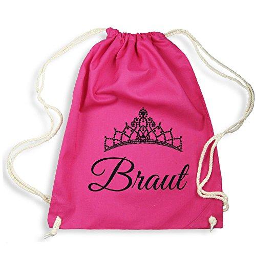 "Partybob JGA Turnbeutel Rucksack ""Braut"" - Diadem (Pink)"