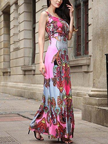 Ruiyige Damen A-Linie Sommerkleid Ärmellos Maxikleid Geblümt Strandkleider Langkleider V ausschnitt Partykleid Cocktailkleid Tuchkleid Rosa